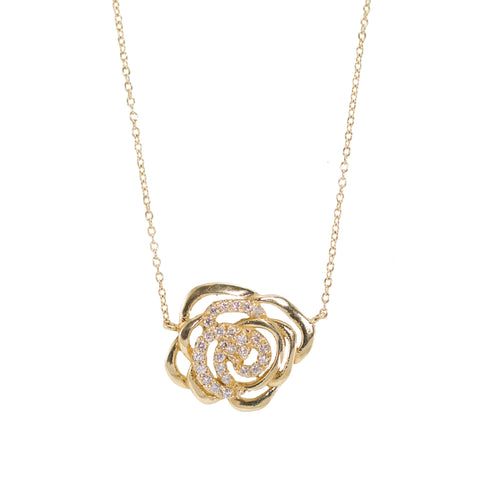 Cut Out Rose Diamond Necklace