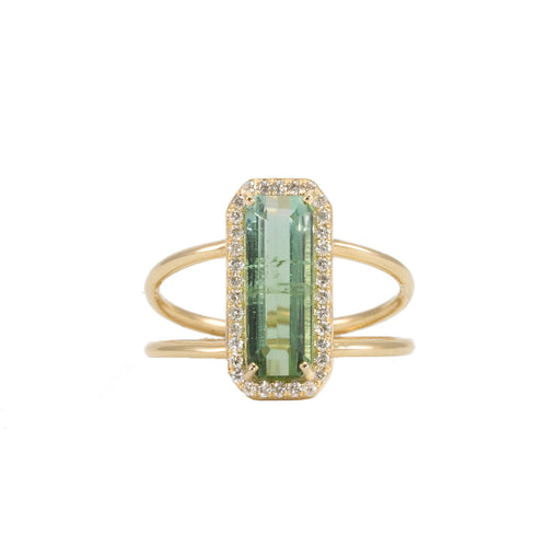 Green Tourmaline Diamond Halo Ring
