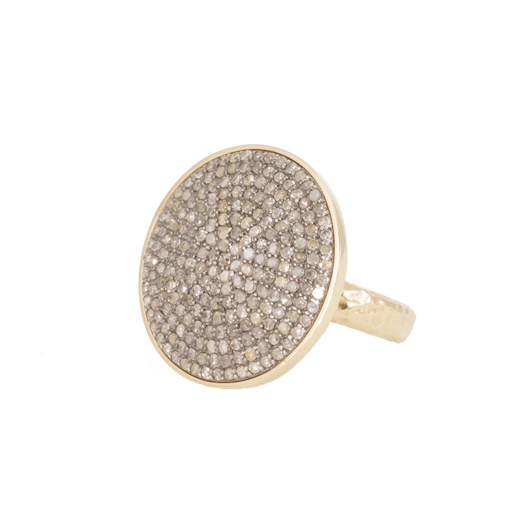 Large Champagne Diamond Disc Ring