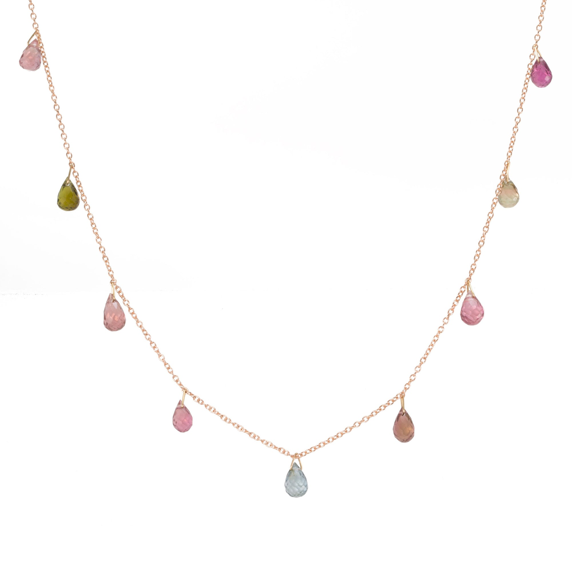 Watermelon Tourmaline Drop Necklace