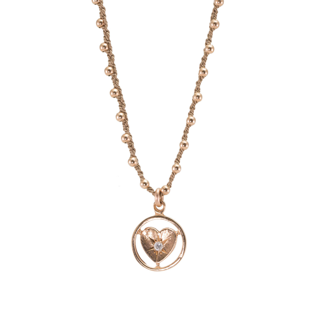 Vintage Heart Diamond Silk Necklace