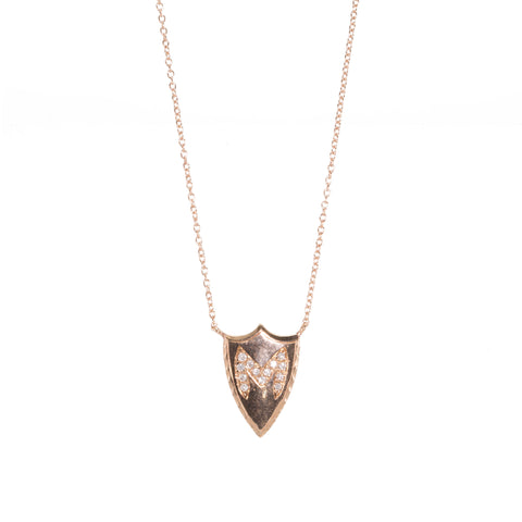 Initial Diamond Shield Necklace