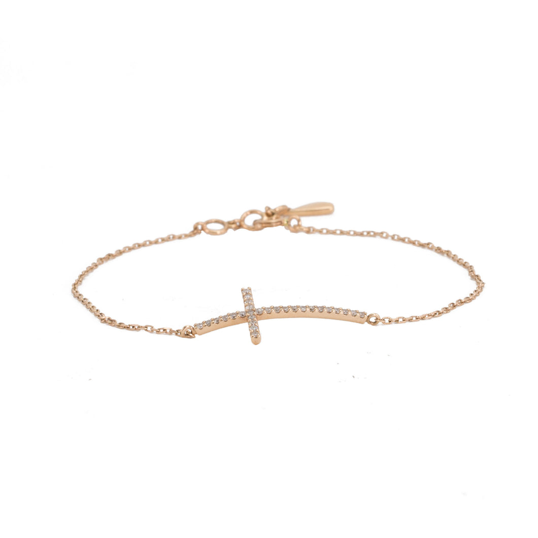 Sideways Diamond Cross Bracelet