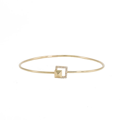 Pyramid & Diamond Bangle Bracelet