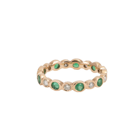 Diamond & Emerald Eternity Band with Alternating Bezels