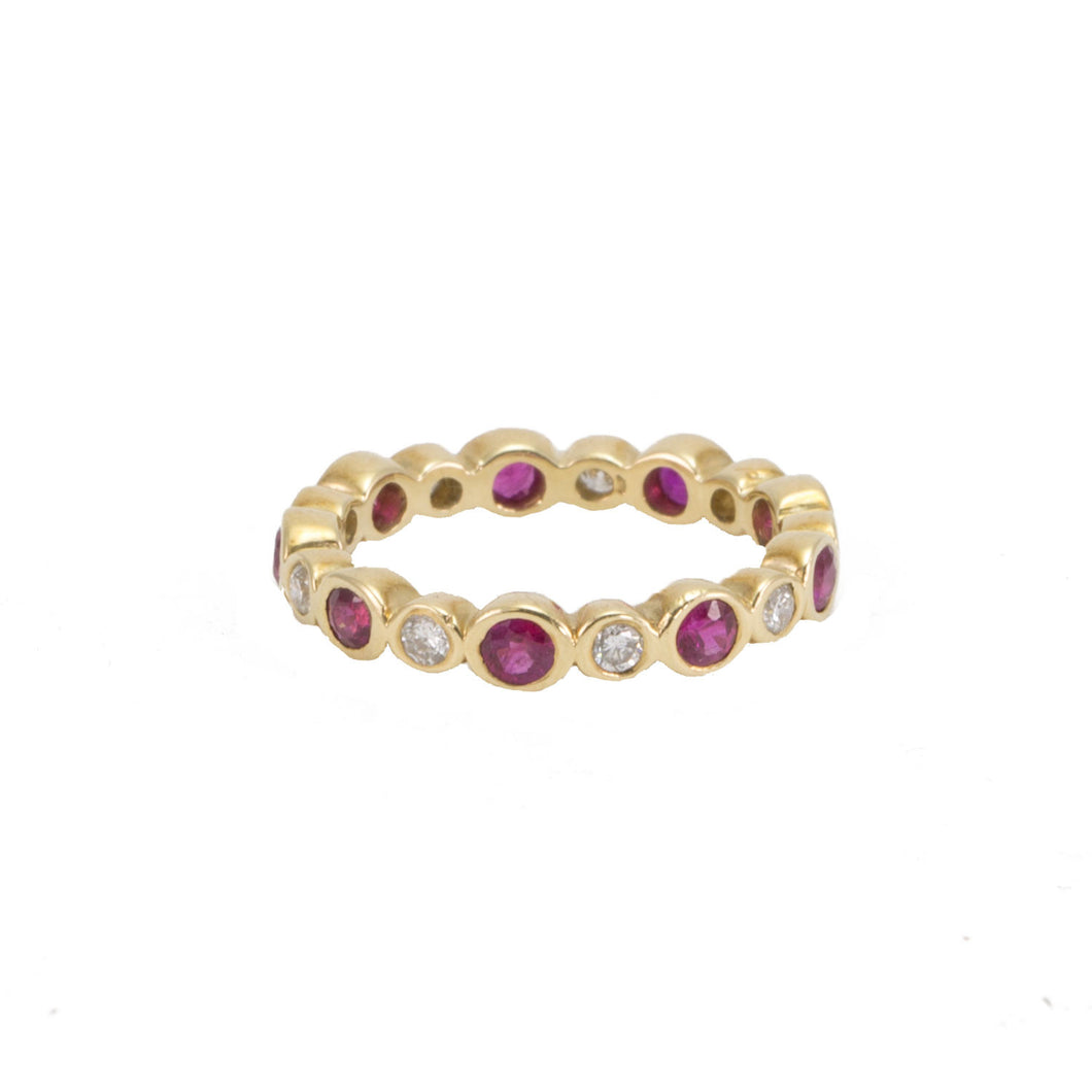 Diamond & Ruby Eternity Band with Alternating Bezels