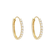 Load image into Gallery viewer, Oval Diamond Front Hoop Earrings