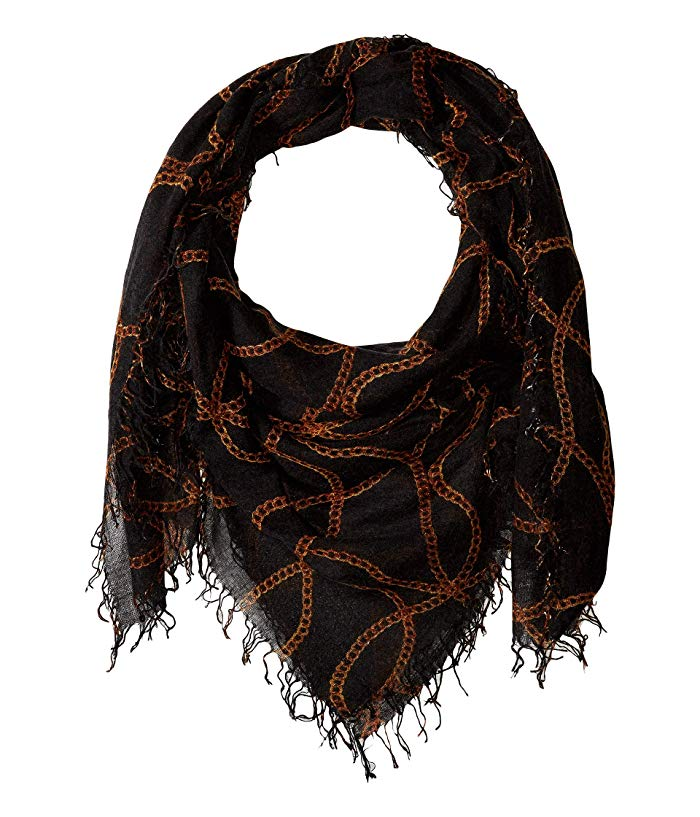 Chains Black Cashmere and Silk Scarf