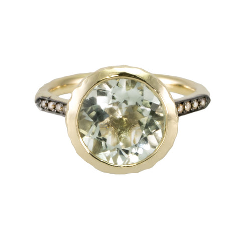 Prasiolite and Champagne Diamond Ring
