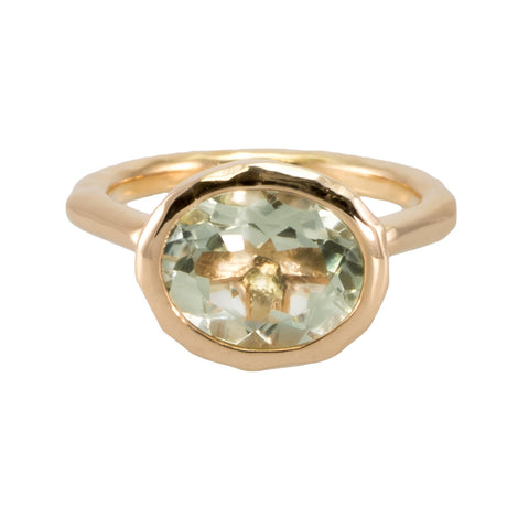 Oval Green Amethyst Ring