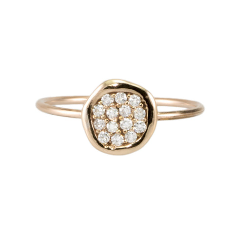 Free Form Pave Diamond Disc Ring