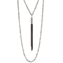 Load image into Gallery viewer, Labradorite & Champagne Diamond Tassel Necklace