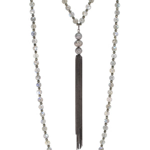 Labradorite & Champagne Diamond Tassel Necklace
