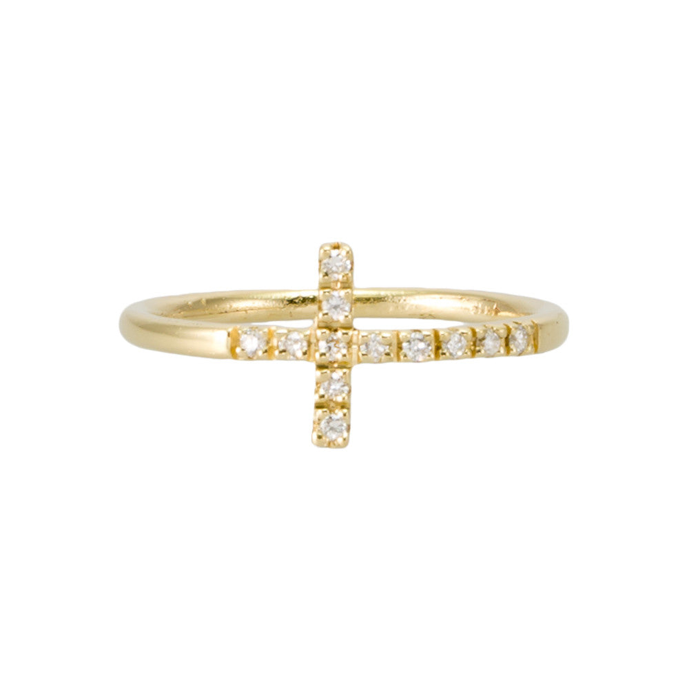 Cross Ring - Sideways with Diamonds