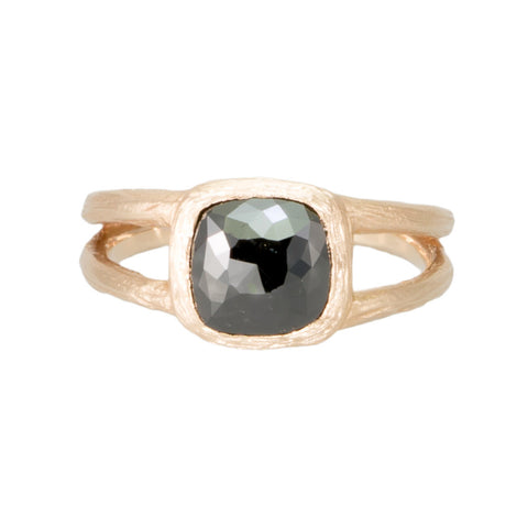 Square Black Diamond Ring