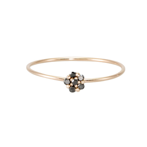Black Diamond Flower Ring