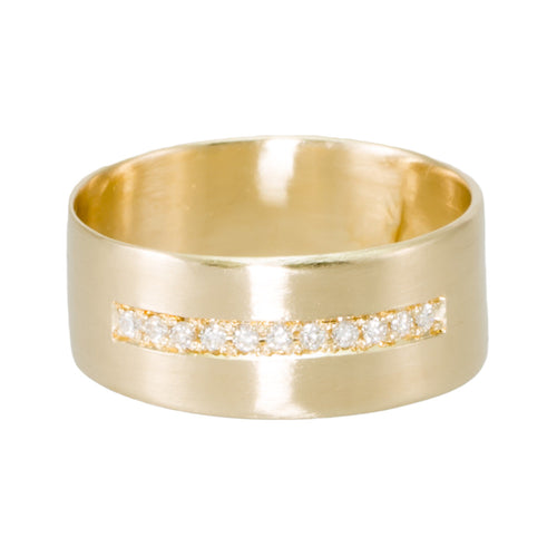 Cigar Band with Diamonds Ring