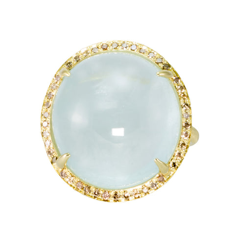Aquamarine & Champagne Diamond Ring