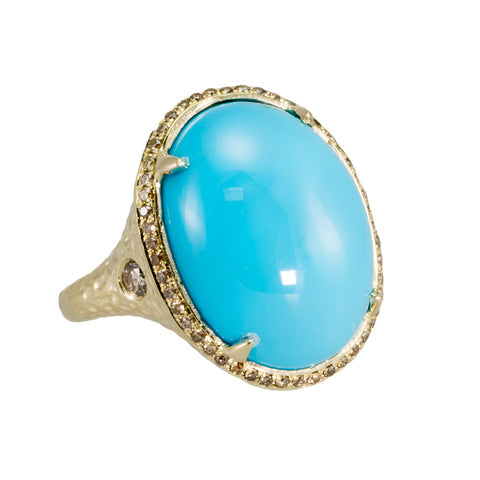 Turquoise with Champagne Diamond Ring