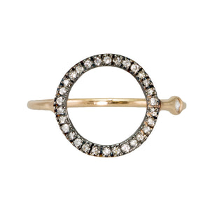Open Circle Ring with Diamonds