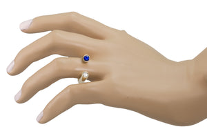 Large Horseshoe Sapphire and Diamond Ring