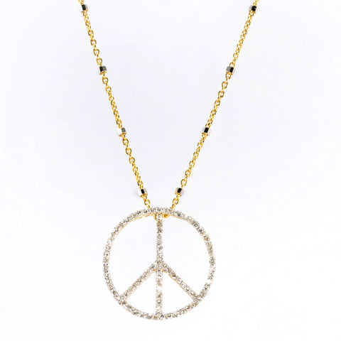 Large Diamond Peace Sign Necklace
