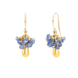 Gold Tear Drop Sapphire Cluster Earrings