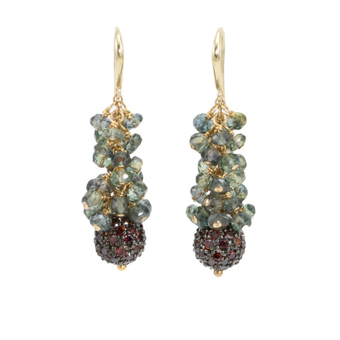 Green Sapphire Cascading Earrings