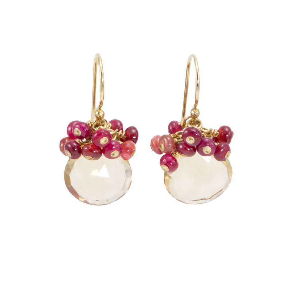 Whiskey Quartz with Ruby Earrings