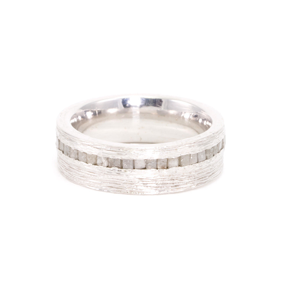 Raw Diamond 8mm Textured Mens Band