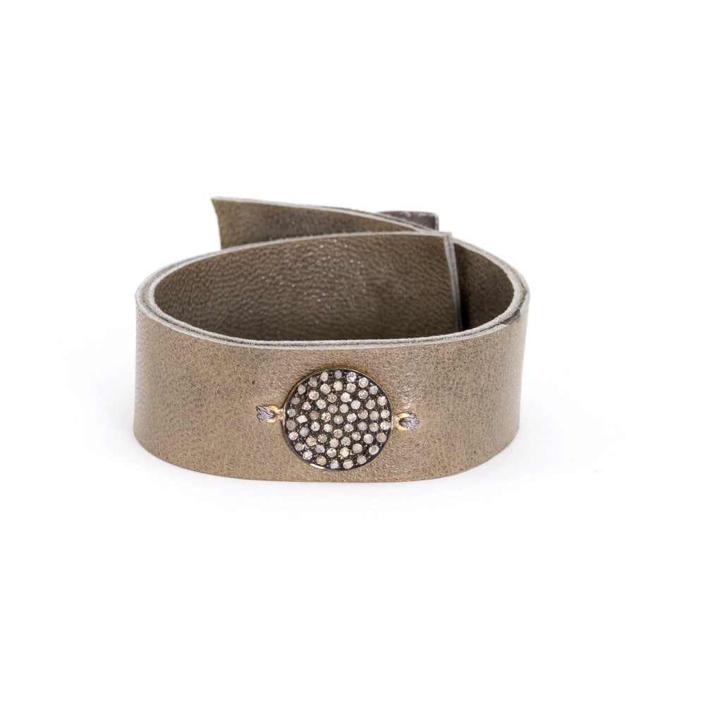 Leather Bracelet - Diamond Disc