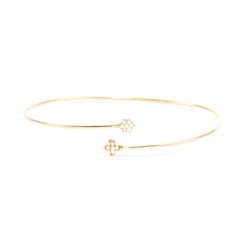 Clover & Flower Diamond Cuff Bracelet