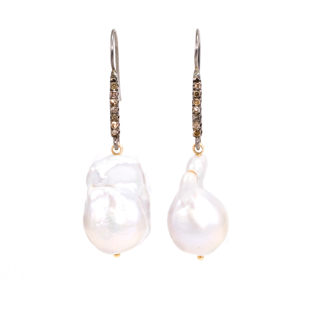 cee0050a9 Baroque Pearl & Champagne Diamond Earrings - Designs by Musti