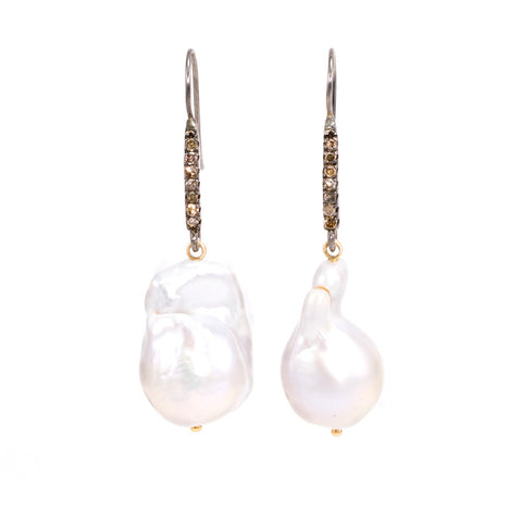 Baroque Pearl & Champagne Diamond Earrings