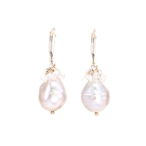 Pearl Drop Moonstone Cluster Earrings