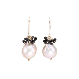 Pearl Drop Black Garnet Cluster Earrings