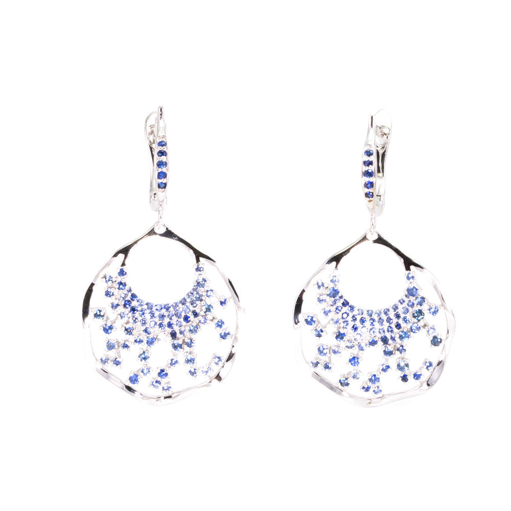 Blue Sapphire Fan Drop Earrings