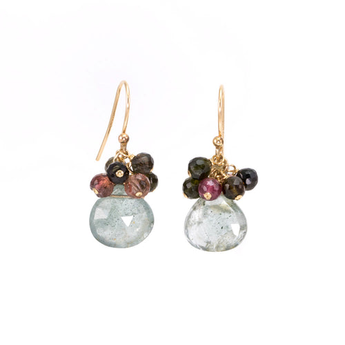 Aquamarine Drop Tourmaline Cluster Earrings