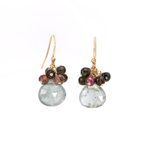 "Moss Aquamarine Earrings with Tourmaline ""Clusters"""