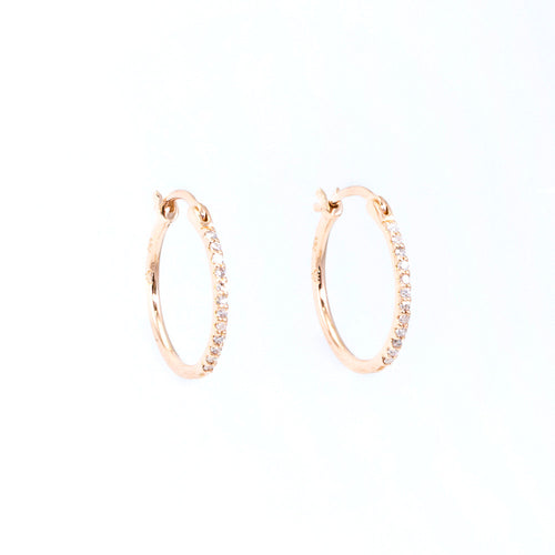 Thin Diamond Front Hoop Earrings