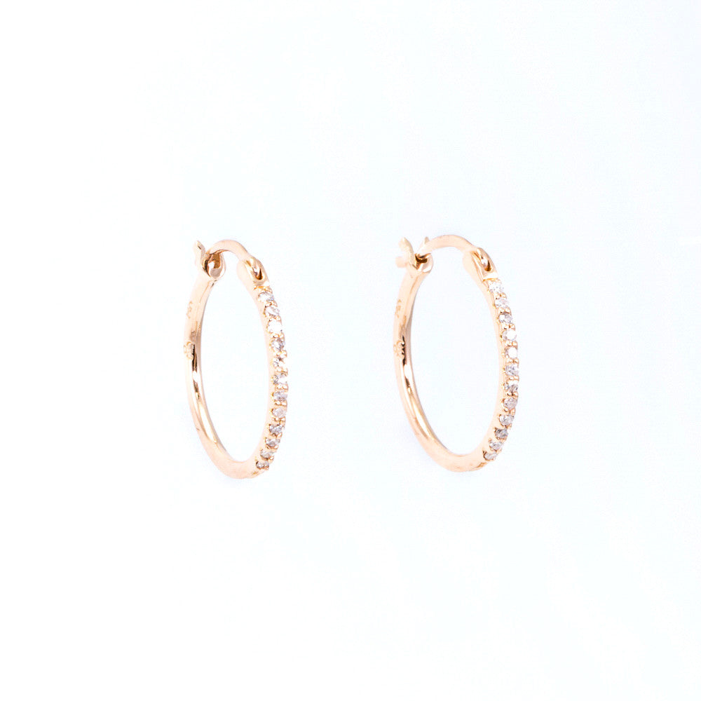 Thin Diamond Hoop Earrings
