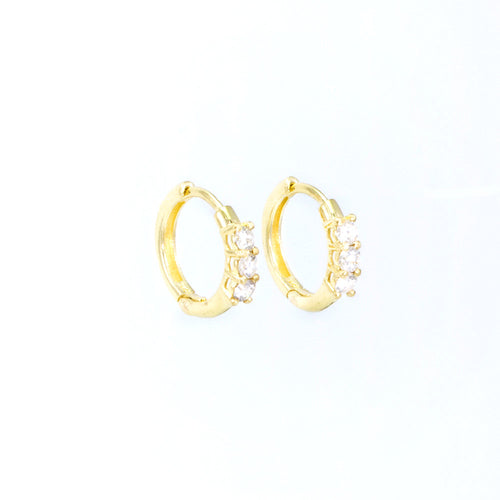 Trio Diamond Huggie Hoop Earrings