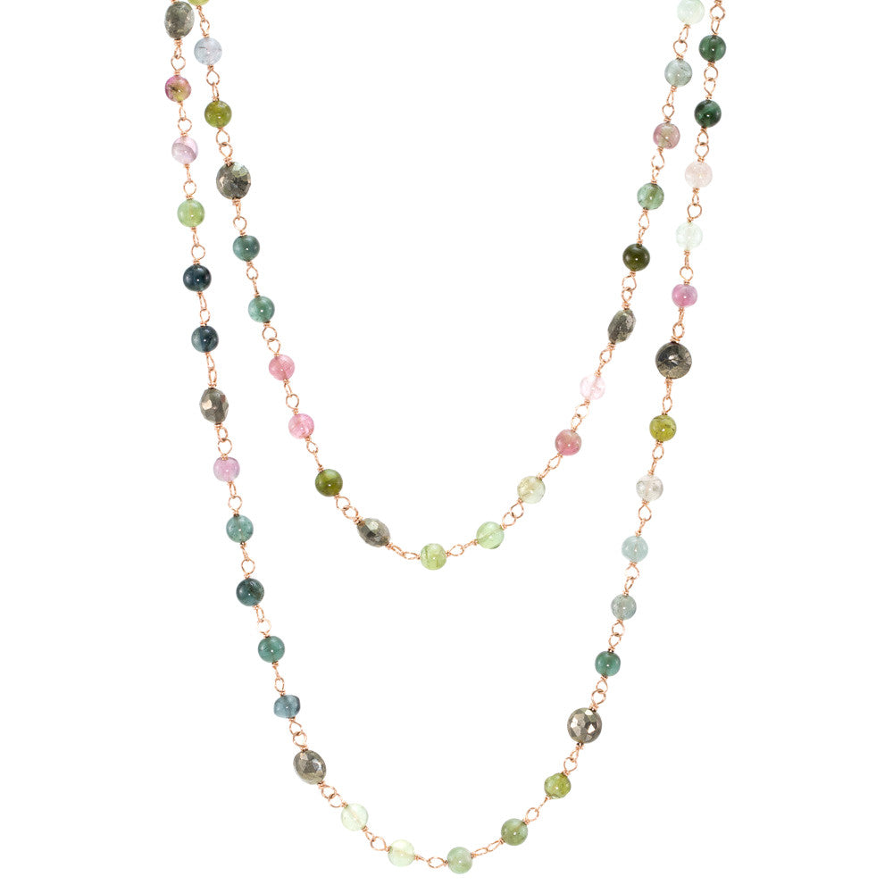 Watermelon Tourmaline & Pyrite Wire Wrap Necklace