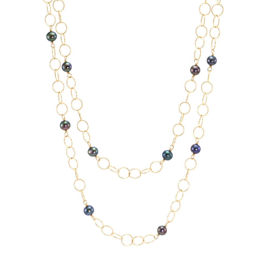 Freshwater Pearl & Links Necklace