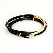 Load image into Gallery viewer, Black Diamond Leather Wrap Bracelet