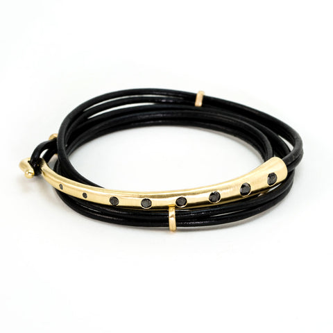 Black Diamond Leather Wrap Bracelet