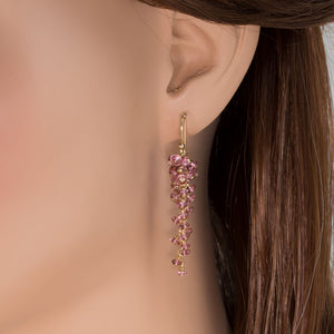 Pink Tourmaline Grape Cluster Earrings