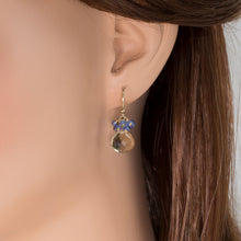Load image into Gallery viewer, Whiskey Quartz & Blue Sapphire Earrings