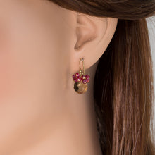 Load image into Gallery viewer, Whiskey Quartz with Ruby Earrings