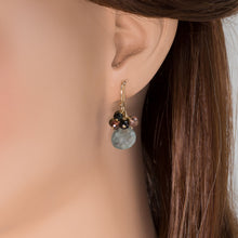 Load image into Gallery viewer, Aquamarine Drop Tourmaline Cluster Earrings